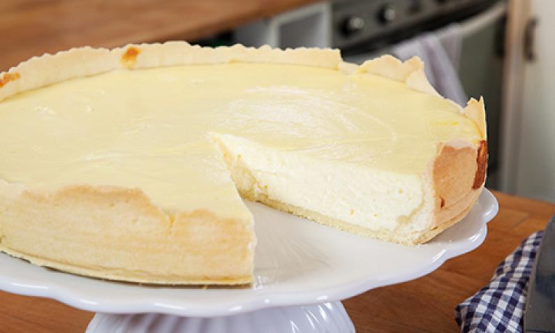 käsekuchen mit gekochtem pudding und quark
