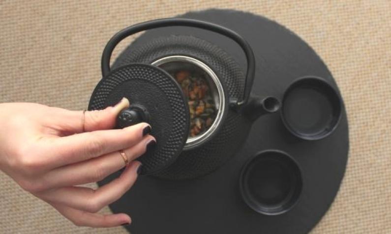 Wunderschöne schwarze gusseiserne Tetsubin Teekanne
