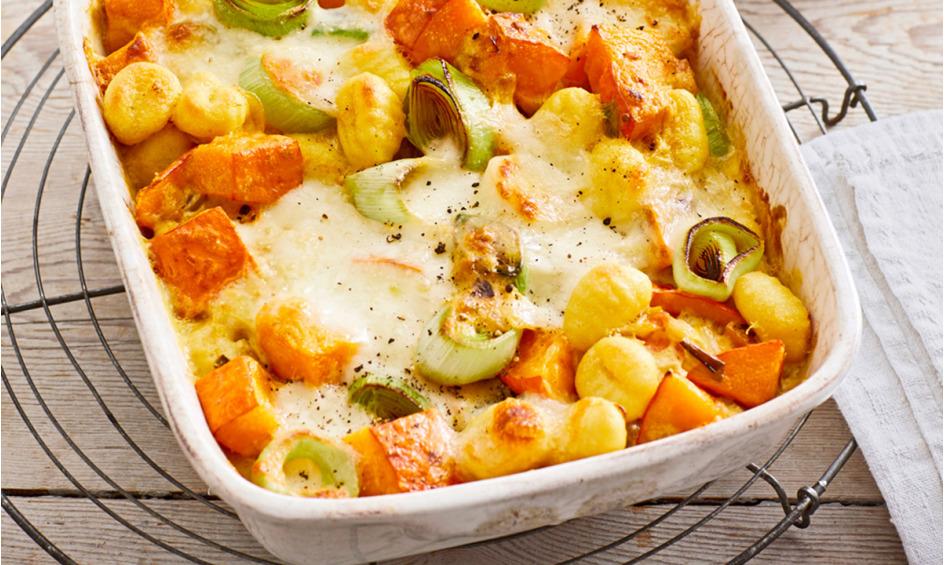Rezept Vegetarischer Gnocchi-Kürbis-Lauch-Auflauf