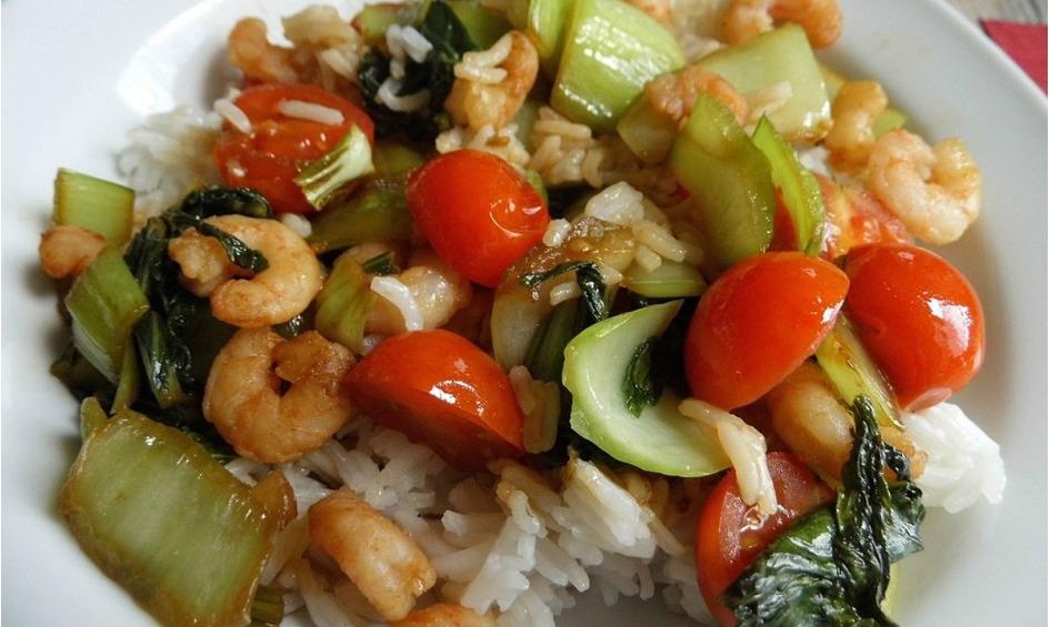 Rezept Garnelen mit Pak choi und Tomaten