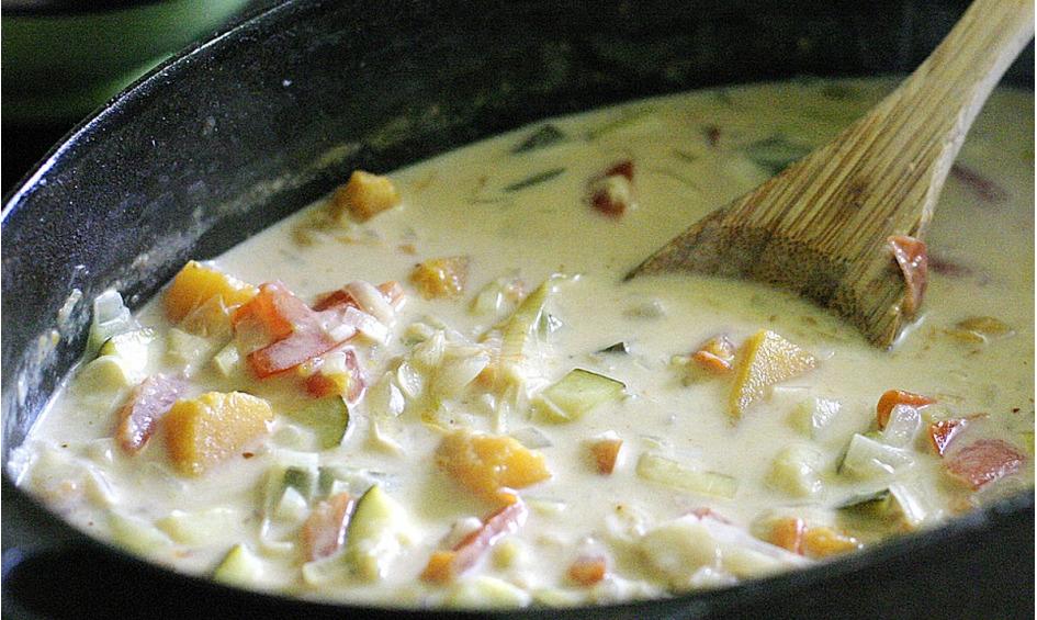 Rezept Gemüsesuppe mit eingelegtem Kürbis