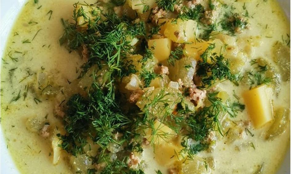 Rezept Gurken-Rahm-Suppe mit Hackfleisch und Kartoffeln