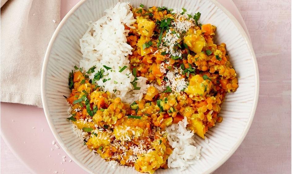Rezept Linsencurry mit Mango und Kokos