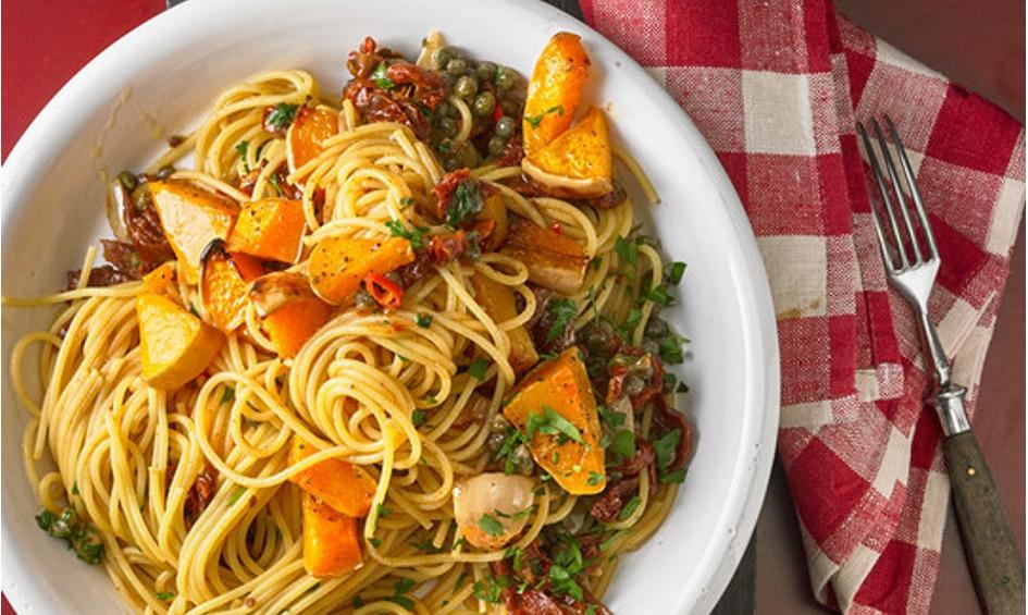 Rezept Spaghetti mit gebackenem Butternusskürbis