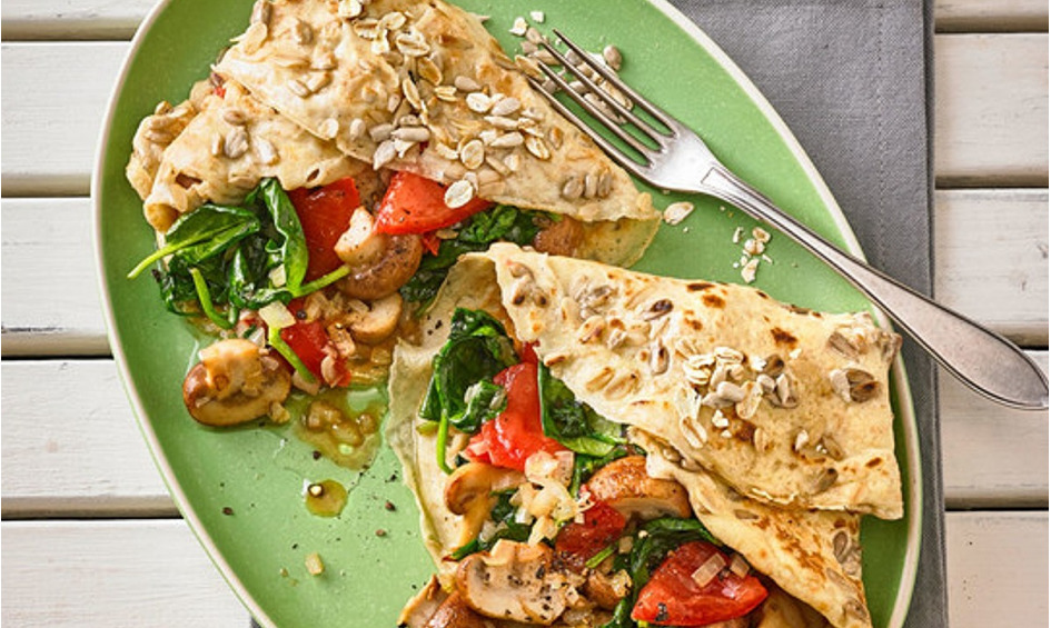 Rezept Vegetarischer Pfannkuchen mit Spinat-Champignon-Füllung