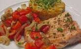 Gebratenes Zanderfilet auf Fenchel - Paprika - Gemüse