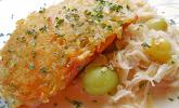 Lachsfilet mit Kartoffelkruste auf Champagnerrahmkraut