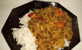 Dreierlei Linsencurry mit scharfem Tofu in Knoblauchmarinade