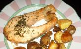 Lachssteak mit Rosmarin-Kartoffeln