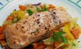 Sanft gegarter Lachs auf Möhren - Orangen - Fenchel - Gemüse