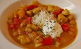 Hühnchen-Curry mit Kichererbsen und Mangostücken