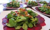 Carpaccio von Roter Bete mit Feldsalat, Birnen und Kürbiskernkrokant
