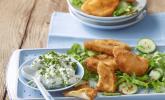 Kohlrabi paniert/gebacken mit Kräutersauce