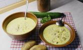 Gurken - Rahm - Suppe mit Hackfleisch und Kartoffeln