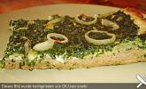 Spinat - Frischkäse - Pizza mit Mandeln