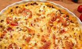 Blätterteigquiche mit Hackfleisch, Tomaten und Schafskäse