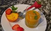 Safran Panna cotta mit Mango-Maracuja Salsa