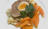 Menü 4 Hauptspeise: Falscher Hase mit glacierten Möhren und Spätzle