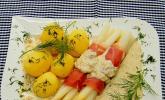 Spargel mit Serranoschinken und Lachs-Meerrettich Sauce