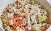 Reissalat mit-Hähnchenfleisch und Brokkoli