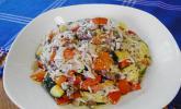 Griechische Reis-Tatar-Gemüse-Pfanne