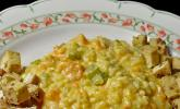 Süßkartoffel-Sellerie Risotto an gebackenem Erdnusstofu