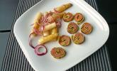 Bärlauchcrêpes mit Räucherlachs und warmem Spargelsalat