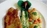 Rotbarschfilet mit Mangoldstielen, Gemüseperlen und Quinoa