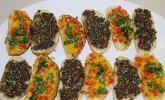Bruschetta mit Pilzen und Paprika