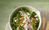 Salat vom Jungen Blattspinat mit Feta und Speck