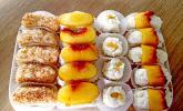 Milchreis-Sushi als süßes Dessert