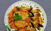 Skreifilet auf Möhren - Sellerie - Julienne mit Kräuterseitlingen