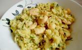 Risotto mit Curry, Blumenkohl und Scampi aus dem Wok