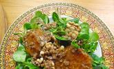 Feldsalat mit karamellisierten Orangen, Walnüssen und Walnuss-Balsamico Vinaigrette