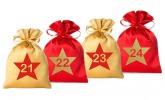 24 Adventskalender Säckchen 2farbig aus Satin