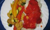 Backofengemüse mit Tomatensoße und Reis