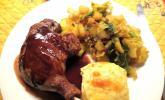 Knusprige Entenbrust mit Kartoffelgratin und Kohlgemüse
