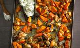 Rezept Kürbis, Süßkartoffeln, Äpfel und Hähnchen vom Blech