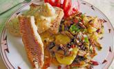 Feiner Pannfisch mit Bratkartoffeln und Senfsauce