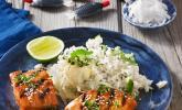 Japanischer gegrillter Lachs mit Teriyaki - Soße