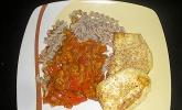 Sojagulasch mit Paprika aus der Mikrowelle