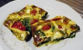 Spinat - Frittata vom Blech mit Feta und Tomaten