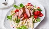 Spargel + Erdbeeren + Entenbrust