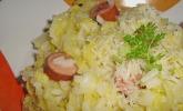 Wirsing - Risotto mit Würstchen und Parmesan