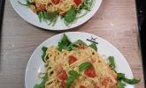 Spaghetti mit einer Tomaten-Brunch-Sauce