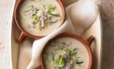 Käse-Lauch-Suppe mit Hackfleisch
