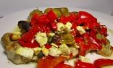 Putenschnitzel mit Paprika, Tomaten und Schafskäse