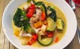 Fisch-Gemüse-Pfanne mit Kokosmilch, Low carb