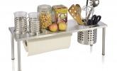 Zweistufiges Küchenregal aus Edelstahl