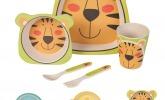 Geschirr Set aus Bambus Tiger 5 teilig